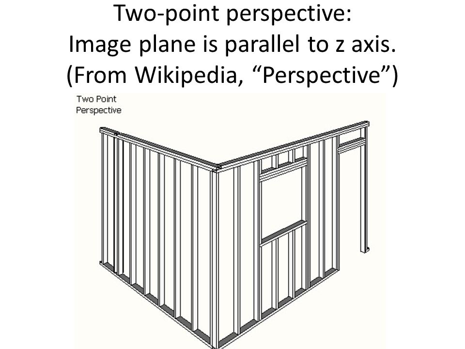 Two-point perspective: Image plane is parallel to z axis. (From Wikipedia, Perspective )
