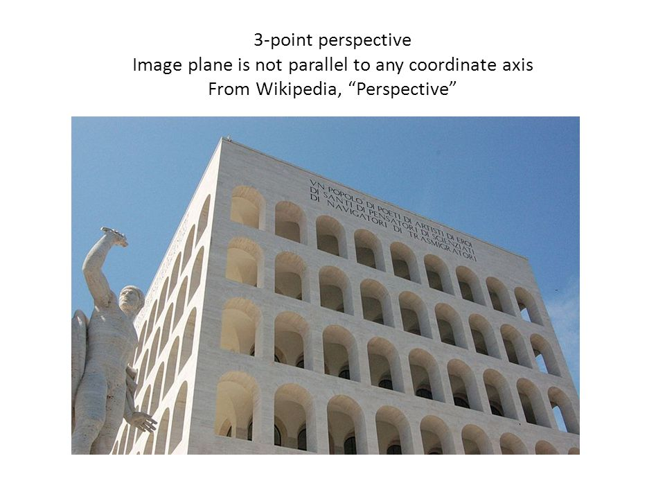 "3-point perspective Image plane is not parallel to any coordinate axis From Wikipedia, ""Perspective"""