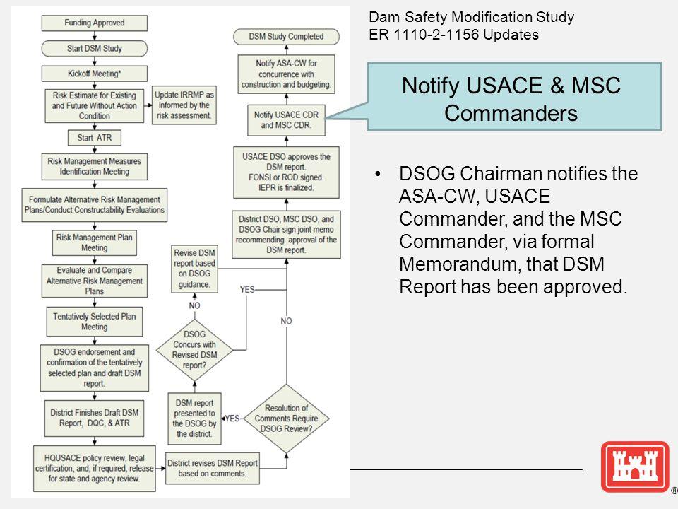 Notify USACE & MSC Commanders DSOG Chairman notifies the ASA-CW, USACE Commander, and the MSC Commander, via formal Memorandum, that DSM Report has been approved.