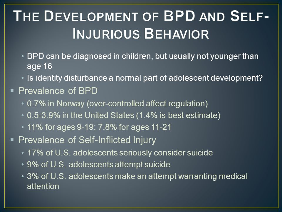  Sex Differences 70-80% of BPD individuals are female 70-80% of ASPD individuals are male Possible reasons for diagnostic discrepancy  Biases in diagnostic criteria, sampling, or assessments  Differences in treatment-seeking behaviors  Differences in expression of psychiatric illness  Is BPD a female manifestation of ASPD.