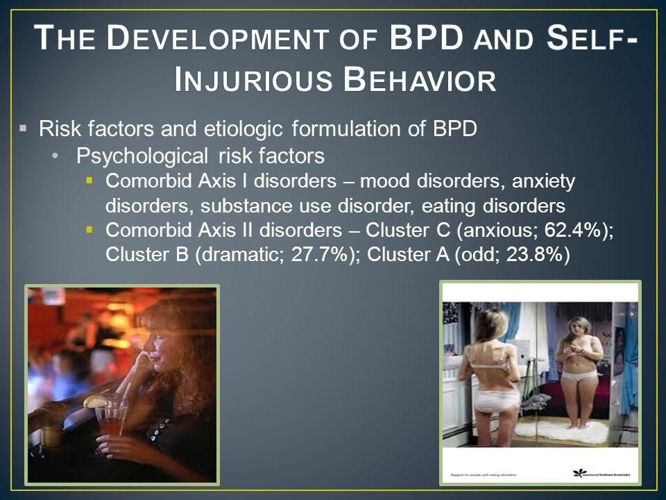  Developmental sequence of precursors o Behavioral dyscontrol o Emotion dysregulation Family psychopathology  Impulse control disorders  Mood disorders  Substance use disorders  CD/ASPD