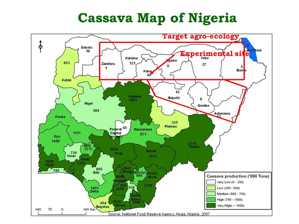 Cassava Map of Nigeria Experimental site Target agro-ecology
