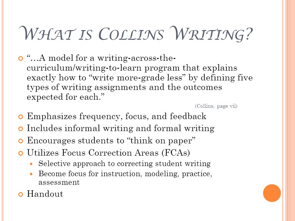 E XPECTATIONS FOR THIS Y EAR If not already doing so: Incorporate teacher modeling/think alouds Have students do some writing that does not go through the entire process Pull in some of your own ideas for writing activities Incorporate Type 1 and/or Type 2 writing in content areas