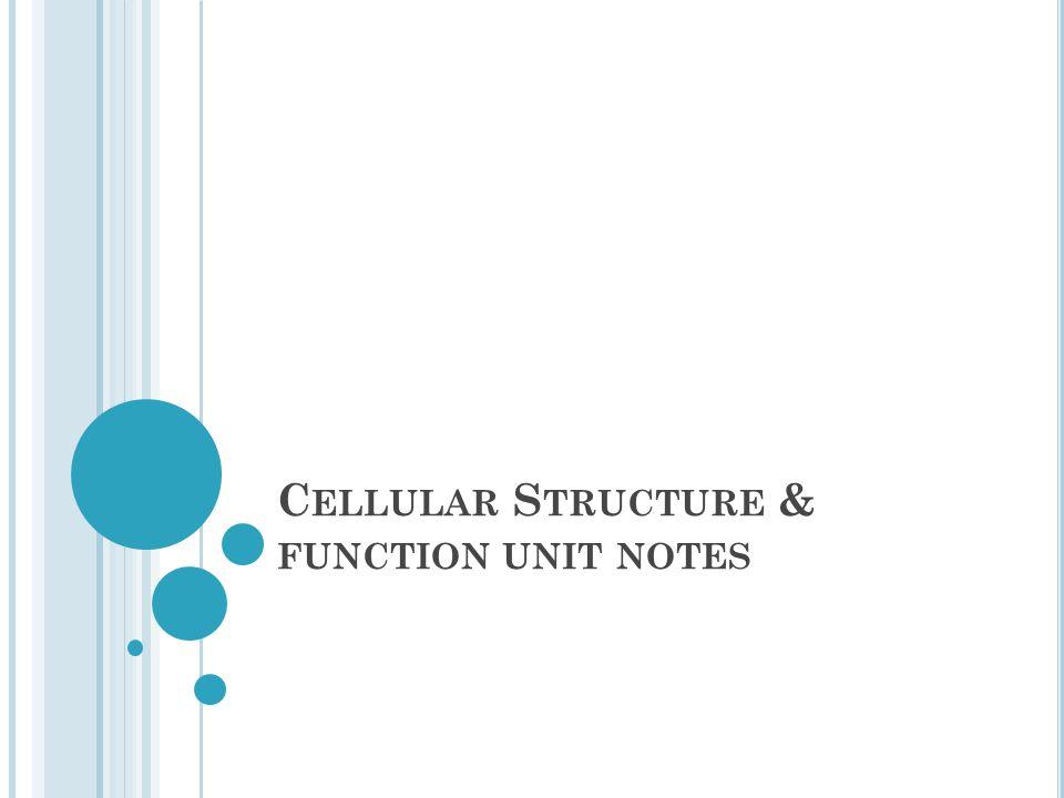 C ELLULAR S TRUCTURE & FUNCTION UNIT NOTES