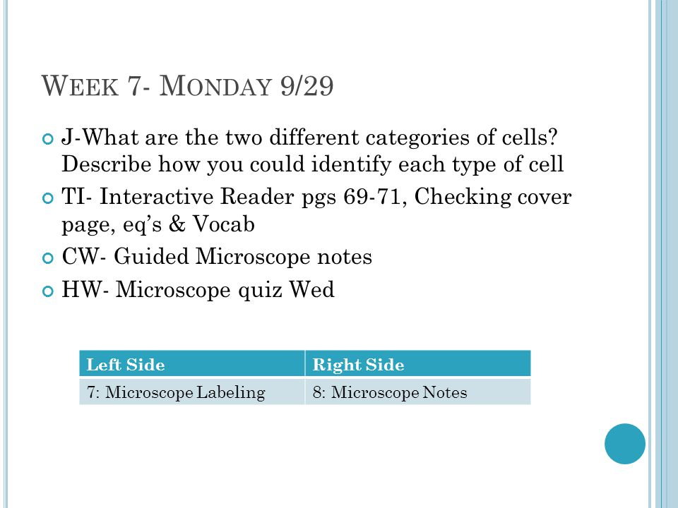 W EEK 7- M ONDAY 9/29 J-What are the two different categories of cells.