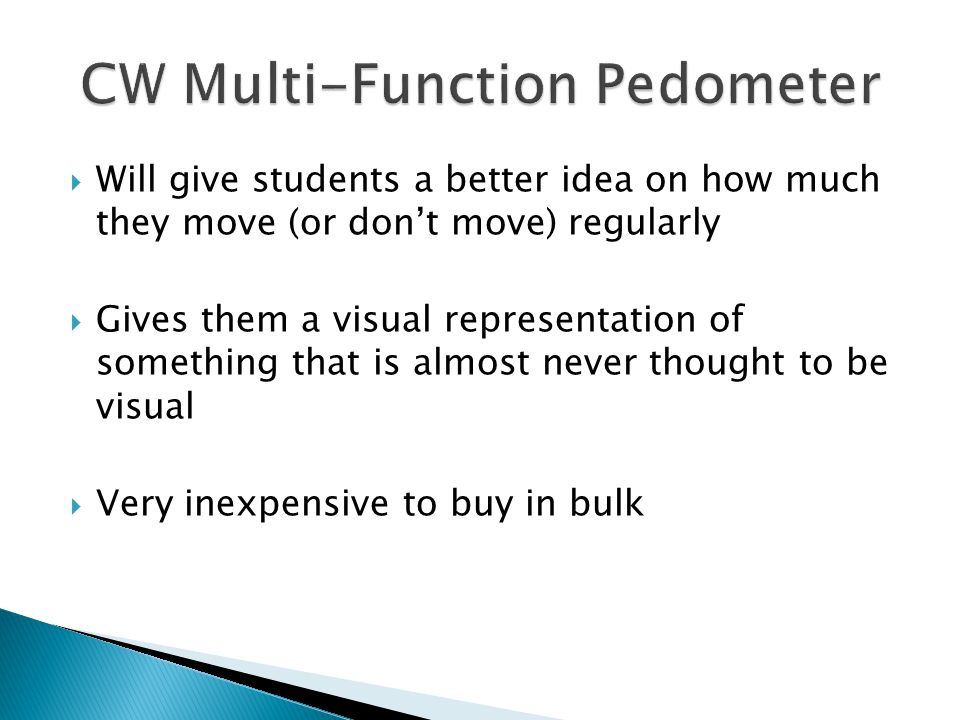  Will give students a better idea on how much they move (or don't move) regularly  Gives them a visual representation of something that is almost never thought to be visual  Very inexpensive to buy in bulk