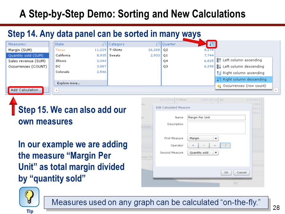 A Step-by-Step Demo: Sorting and New Calculations Step 14.