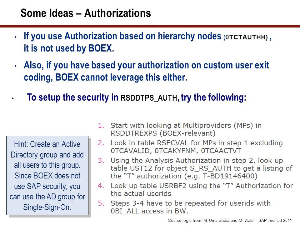 Some Ideas – Authorizations If you use Authorization based on hierarchy nodes ( 0TCTAUTHH), it is not used by BOEX.