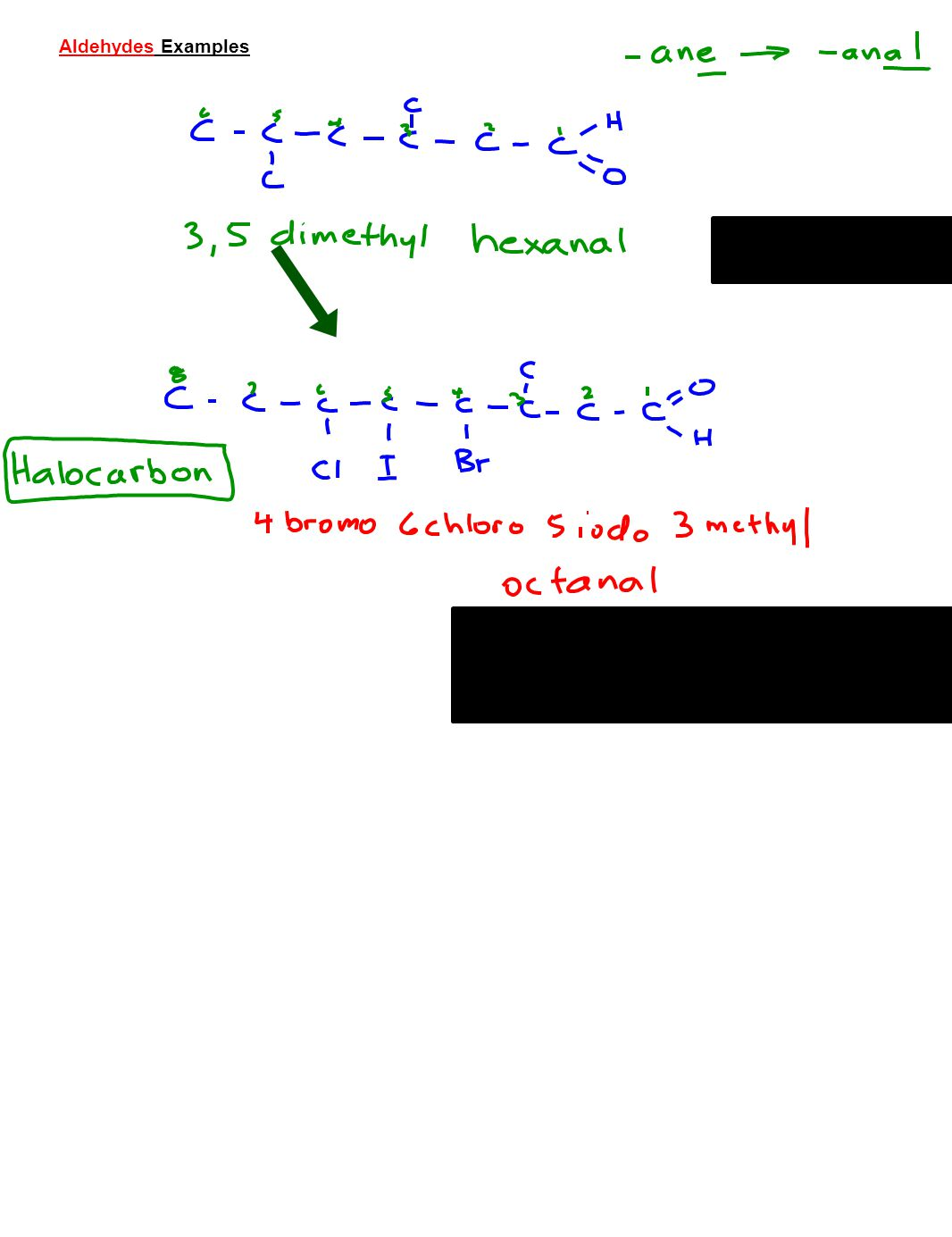 Aldehydes Examples