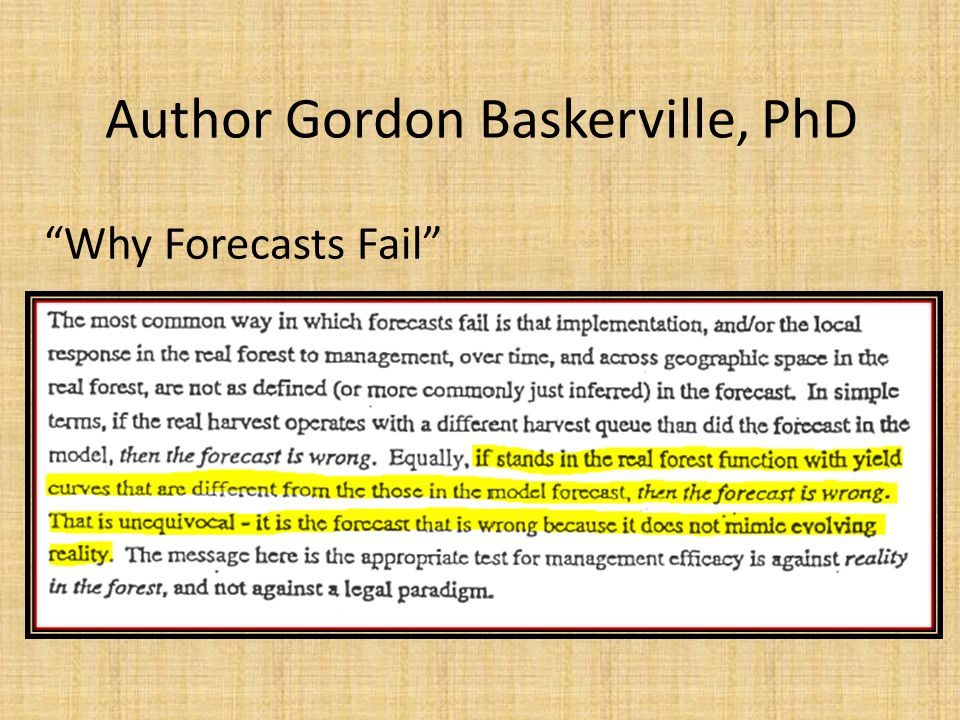 "Author Gordon Baskerville, PhD ""Why Forecasts Fail"""