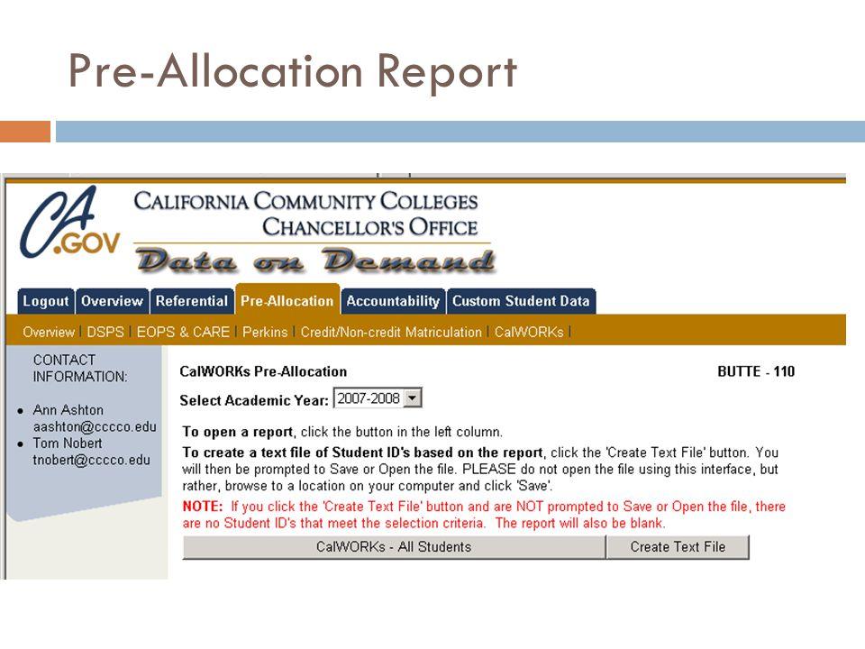Pre-Allocation Report
