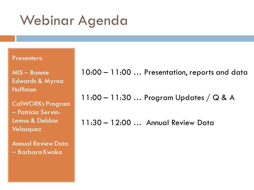 Webinar Agenda Presenters: MIS – Bonnie Edwards & Myrna Huffman CalWORKs Program – Patricia Servin- Lemus & Debbie Velasquez Annual Review Data – Barb