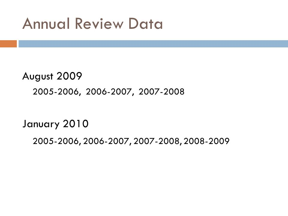 Annual Review Data August 2009 2005-2006, 2006-2007, 2007-2008 January 2010 2005-2006, 2006-2007, 2007-2008, 2008-2009