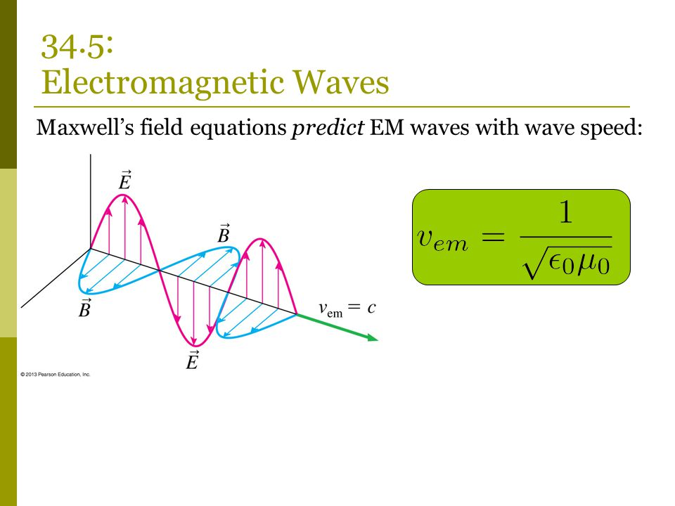 Maxwell's field equations predict EM waves with wave speed: 34.5: Electromagnetic Waves