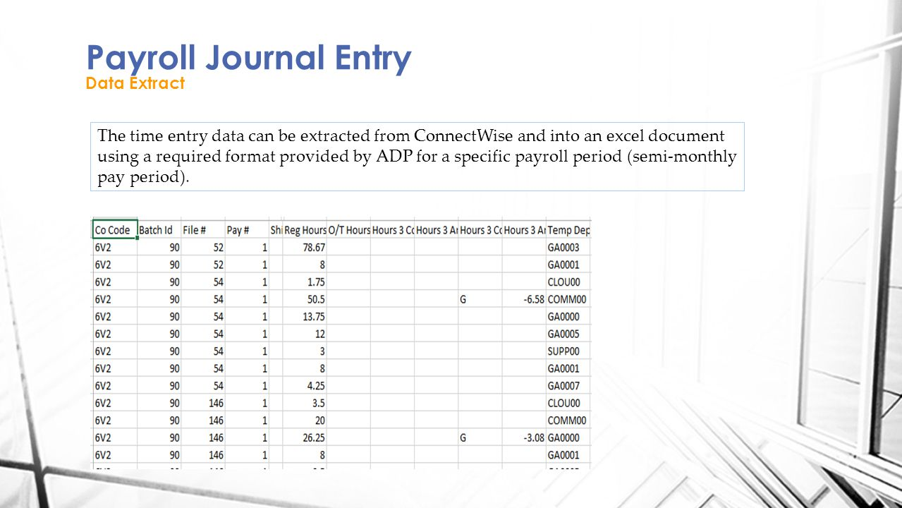 Payroll Journal Entry Data Extract The time entry data can be extracted from ConnectWise and into an excel document using a required format provided by ADP for a specific payroll period (semi-monthly pay period).