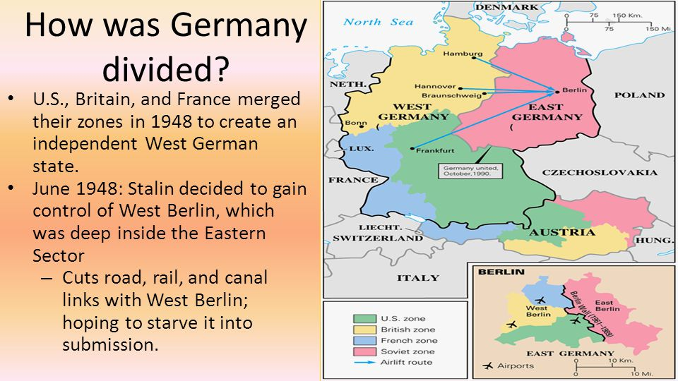 How was Germany divided? U.S., Britain, and France merged their zones in 1948 to create an independent West German state. June 1948: Stalin decided to