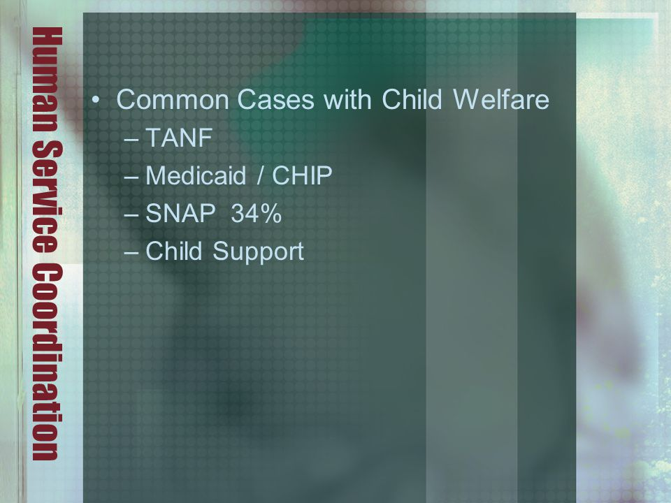 Human Service Coordination Common Cases with Child Welfare –TANF –Medicaid / CHIP –SNAP 34% –Child Support