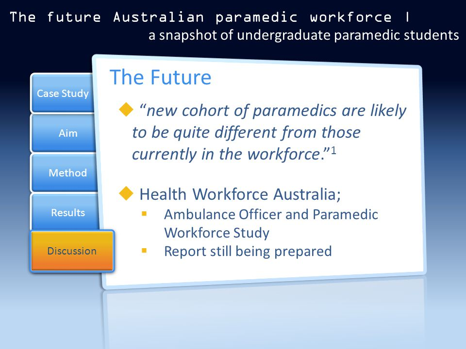 Aim Method Results Case Study Discussion The Future  new cohort of paramedics are likely to be quite different from those currently in the workforce. 1  Health Workforce Australia;  Ambulance Officer and Paramedic Workforce Study  Report still being prepared The future Australian paramedic workforce | a snapshot of undergraduate paramedic students