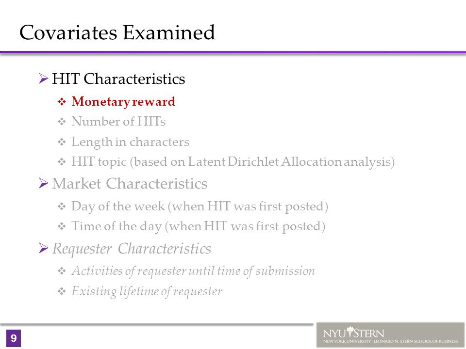 9 Covariates Examined  HIT Characteristics  Monetary reward  Number of HITs  Length in characters  HIT topic (based on Latent Dirichlet Allocatio