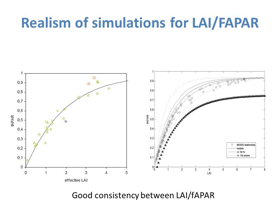 Realism of simulations for LAI/FAPAR Good consistency between LAI/fAPAR