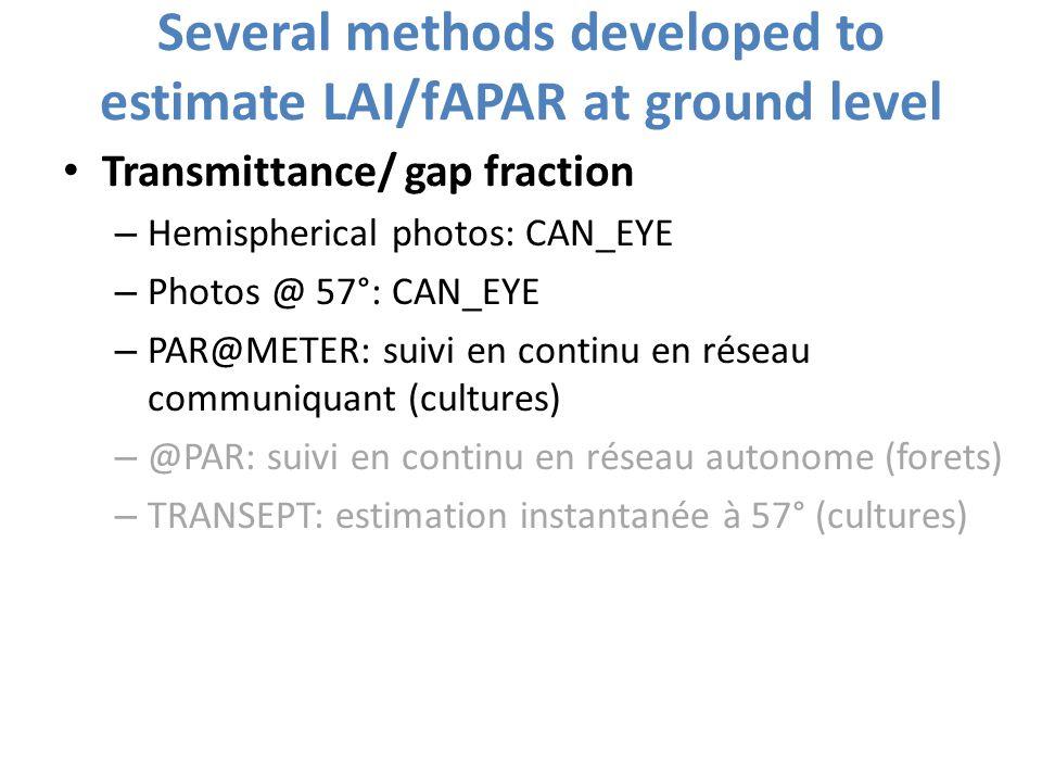 Several methods developed to estimate LAI/fAPAR at ground level Transmittance/ gap fraction – Hemispherical photos: CAN_EYE – Photos @ 57°: CAN_EYE –