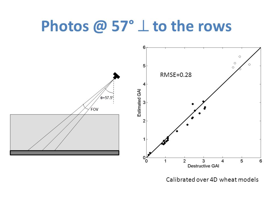 Photos @ 57°  to the rows RMSE=0.28 Calibrated over 4D wheat models