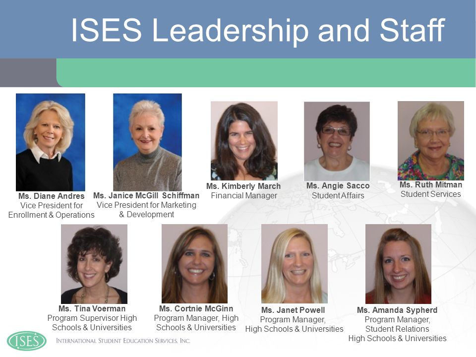 ISES Leadership and Staff Ms. Diane Andres Vice President for Enrollment & Operations Ms.