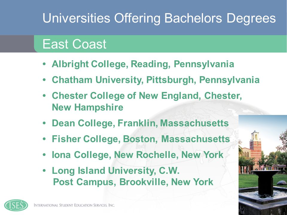 Albright College, Reading, Pennsylvania Chatham University, Pittsburgh, Pennsylvania Chester College of New England, Chester, New Hampshire Dean College, Franklin, Massachusetts Fisher College, Boston, Massachusetts Iona College, New Rochelle, New York Long Island University, C.W.