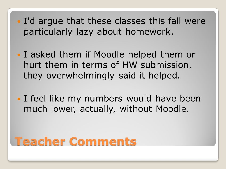 Teacher Comments I d argue that these classes this fall were particularly lazy about homework.