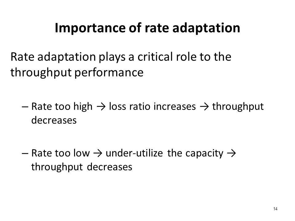 14 Importance of rate adaptation Rate adaptation plays a critical role to the throughput performance – Rate too high → loss ratio increases → throughp