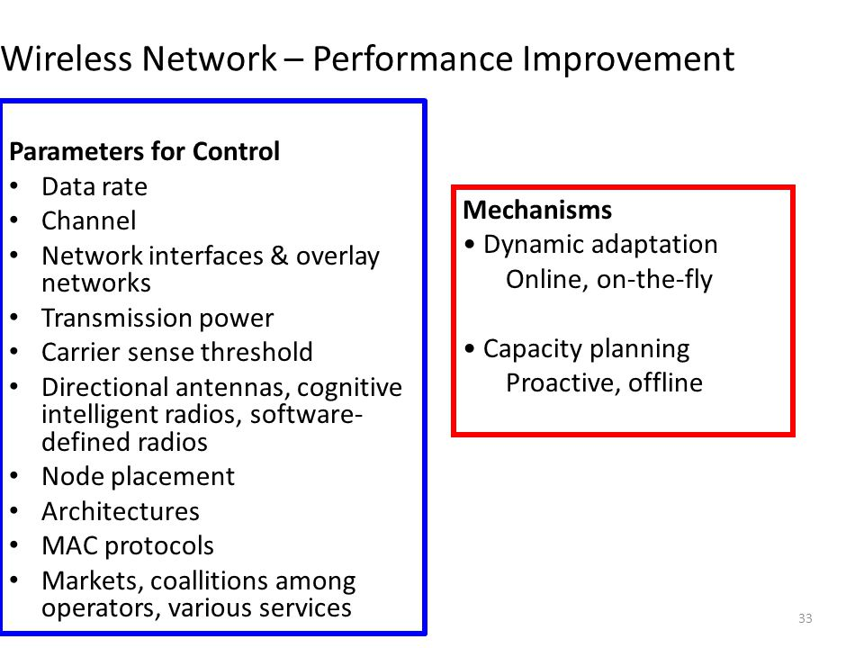 33 Wireless Network – Performance Improvement Parameters for Control Data rate Channel Network interfaces & overlay networks Transmission power Carrier sense threshold Directional antennas, cognitive intelligent radios, software- defined radios Node placement Architectures MAC protocols Markets, coallitions among operators, various services Mechanisms Dynamic adaptation Online, on-the-fly Capacity planning Proactive, offline