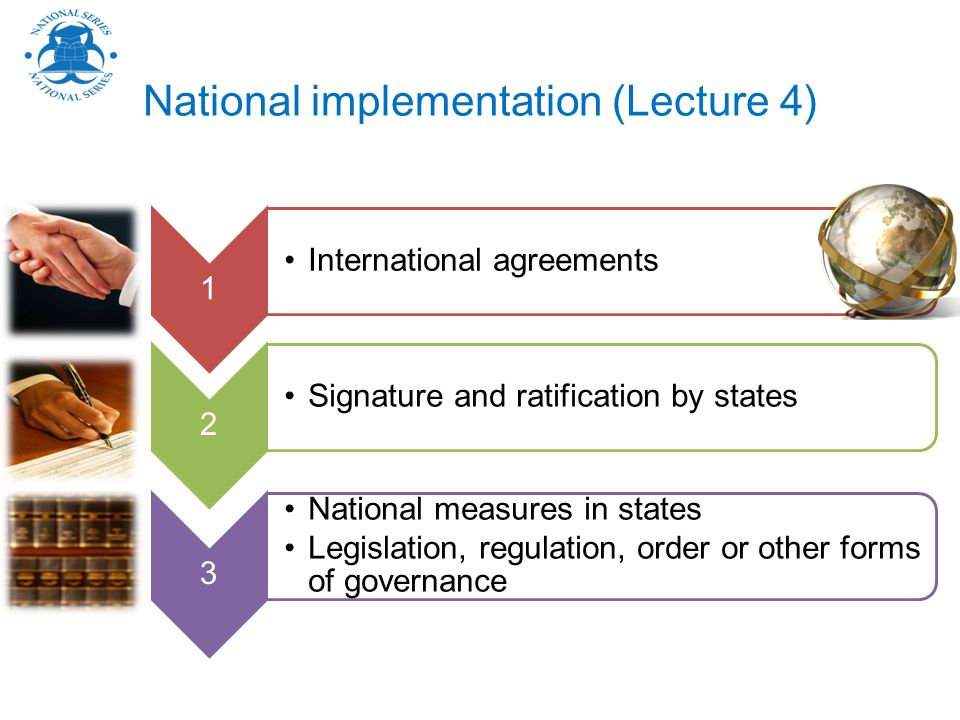National implementation (Lecture 4) 1 International agreements 2 Signature and ratification by states 3 National measures in states Legislation, regulation, order or other forms of governance