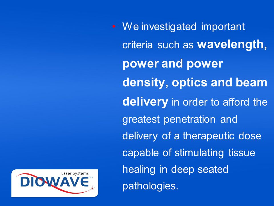 Pulsing – Lasers that pulse also do not emit continuous energy Lasers that can operate at 100% continuous wave output or pulse the laser energy while still maintaining a high average power output is key to treating deep seated pathologies and better clinical outcomes.