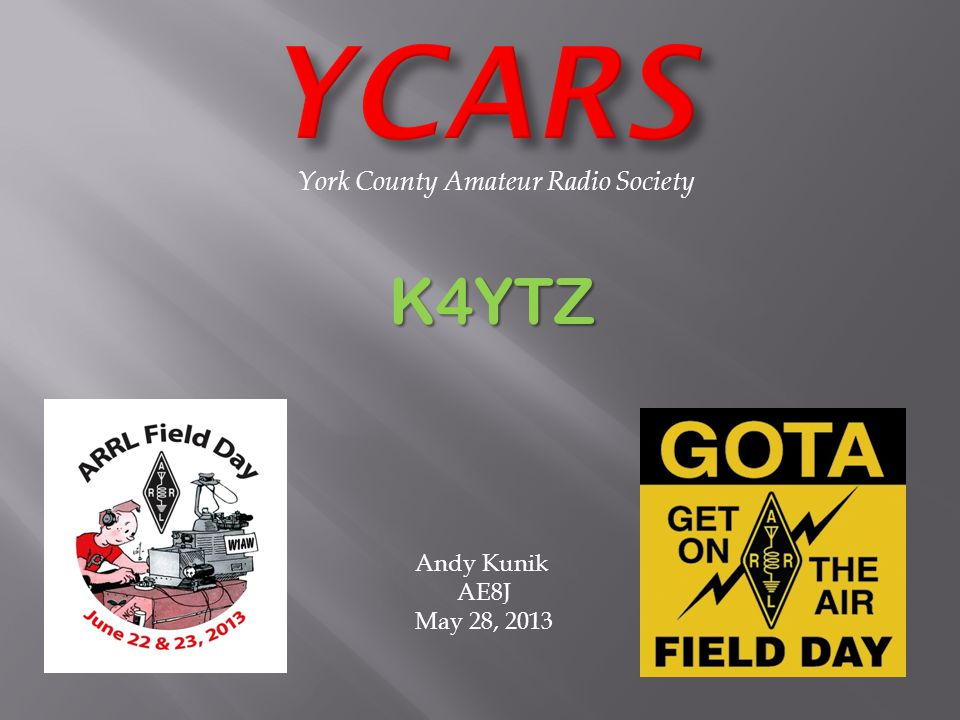 York County Amateur Radio Society K4YTZ Andy Kunik AE8J May 28, 2013