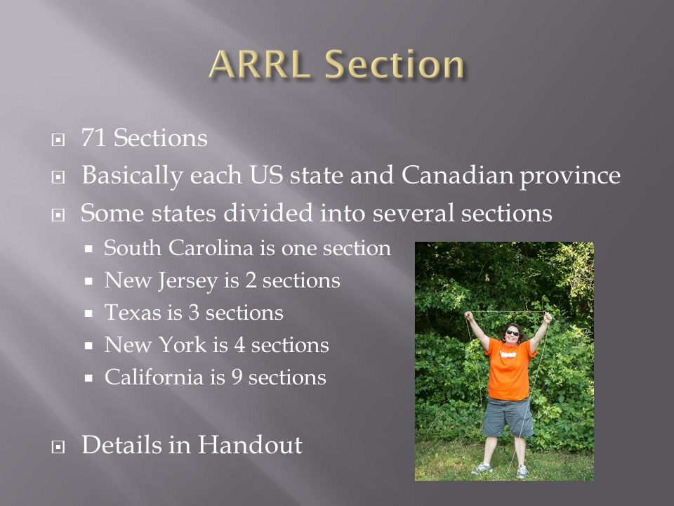  71 Sections  Basically each US state and Canadian province  Some states divided into several sections  South Carolina is one section  New Jersey is 2 sections  Texas is 3 sections  New York is 4 sections  California is 9 sections  Details in Handout