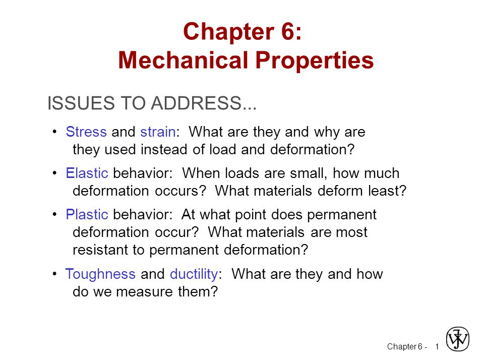Chapter 6 - 12 Mechanical Properties Slope of stress strain plot (which is proportional to the elastic modulus) depends on bond strength of metal Adapted from Fig.