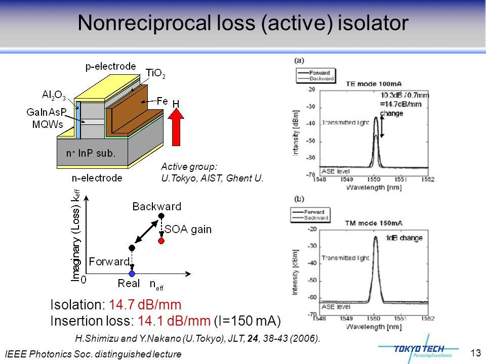 IEEE Photonics Soc. distinguished lecture 13 H.Shimizu and Y.Nakano (U.Tokyo), JLT, 24, 38-43 (2006). Nonreciprocal loss (active) isolator Active grou