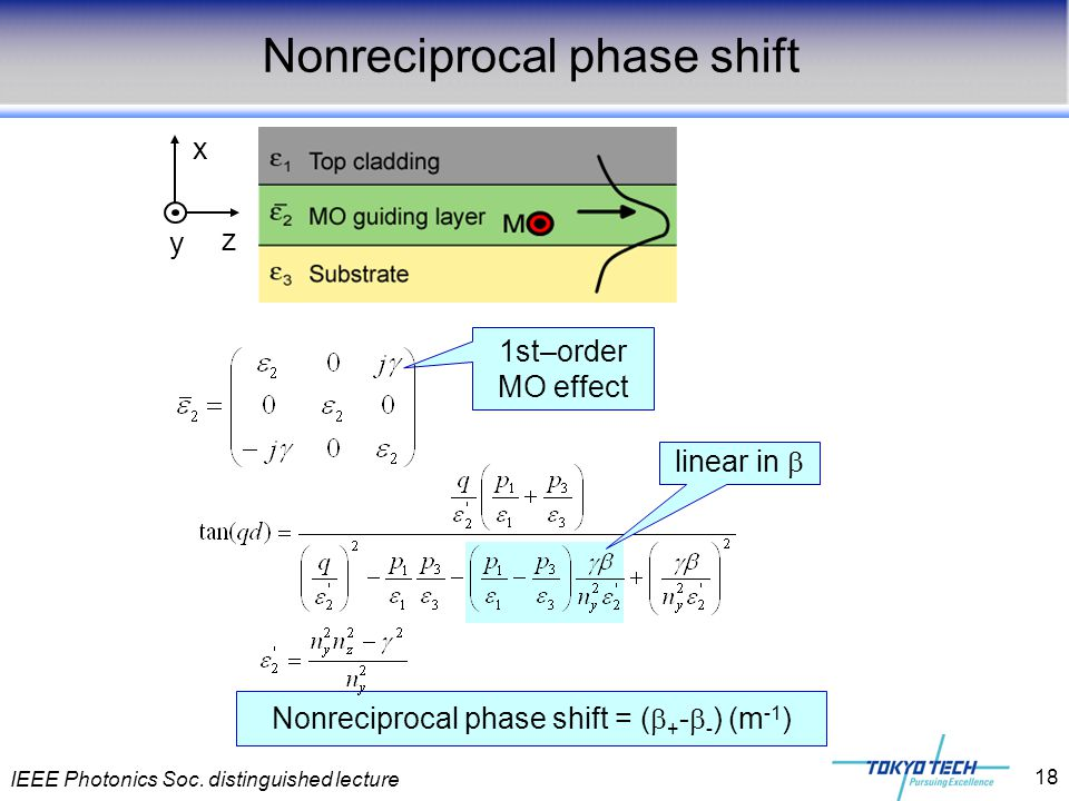 IEEE Photonics Soc. distinguished lecture 18 Nonreciprocal phase shift = (  + -  - ) (m -1 ) Nonreciprocal phase shift 1st–order MO effect linear in