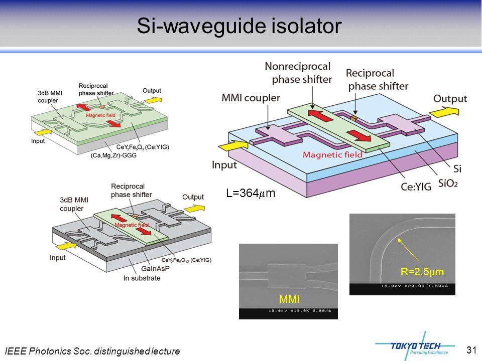 IEEE Photonics Soc. distinguished lecture 31 Si-waveguide isolator L=364  m MMI R=2.5  m