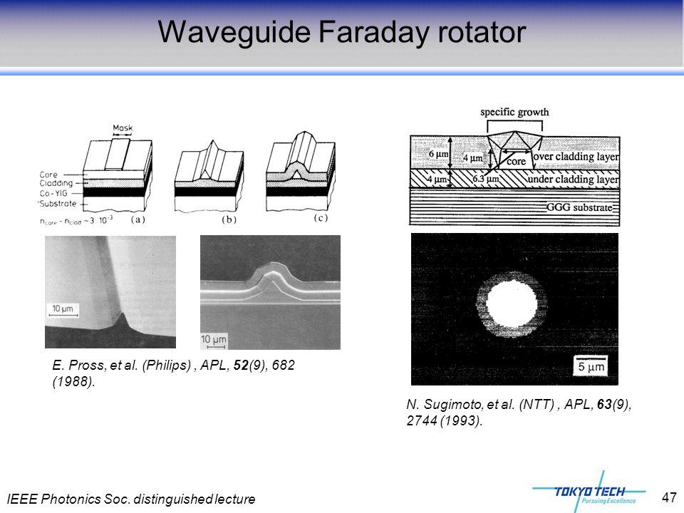 IEEE Photonics Soc. distinguished lecture 47 Waveguide Faraday rotator E. Pross, et al. (Philips), APL, 52(9), 682 (1988). N. Sugimoto, et al. (NTT),