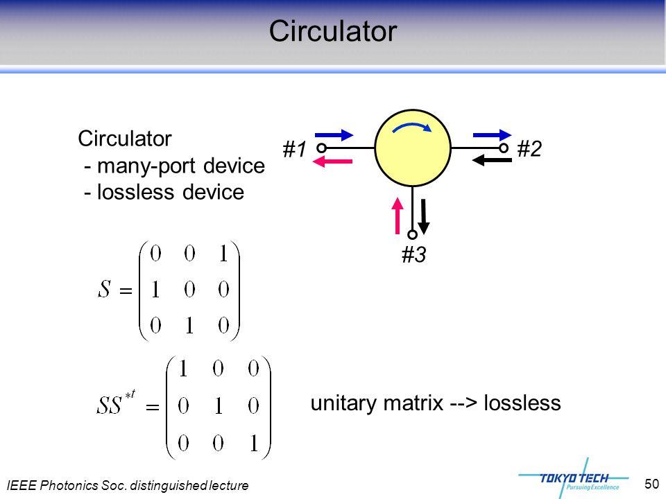 IEEE Photonics Soc. distinguished lecture 50 Circulator - many-port device - lossless device #1 #2 #3 unitary matrix --> lossless