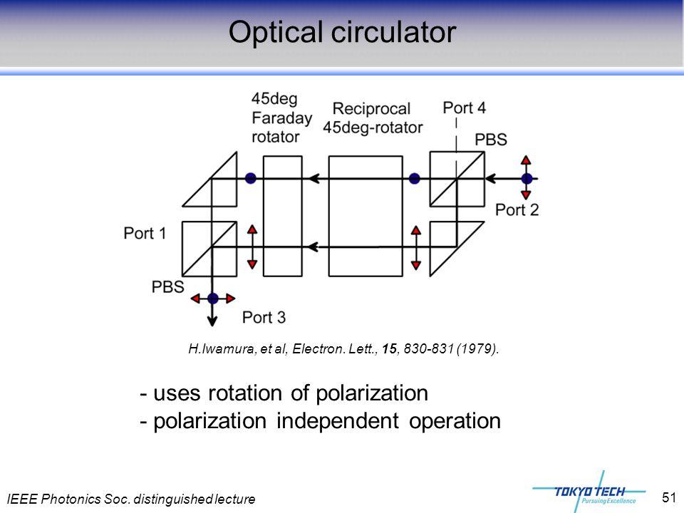 IEEE Photonics Soc. distinguished lecture 51 Optical circulator H.Iwamura, et al, Electron. Lett., 15, 830-831 (1979). - uses rotation of polarization
