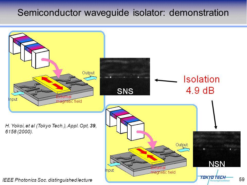 IEEE Photonics Soc. distinguished lecture 59 Semiconductor waveguide isolator: demonstration H. Yokoi, et al (Tokyo Tech.), Appl. Opt, 39, 6158 (2000)