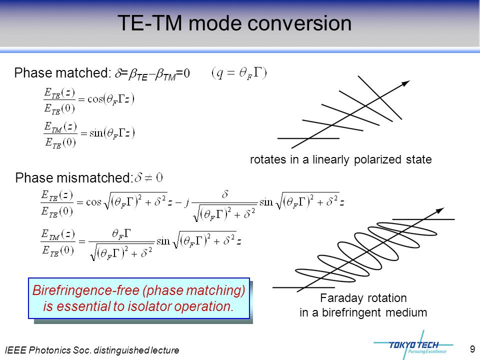 IEEE Photonics Soc. distinguished lecture 9 TE-TM mode conversion Faraday rotation in a birefringent medium Phase matched:  =  TE  TM = 0 Phase mi