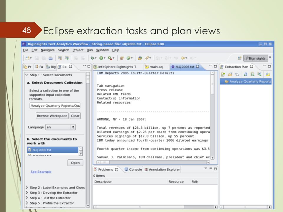 Eclipse extraction tasks and plan views 48
