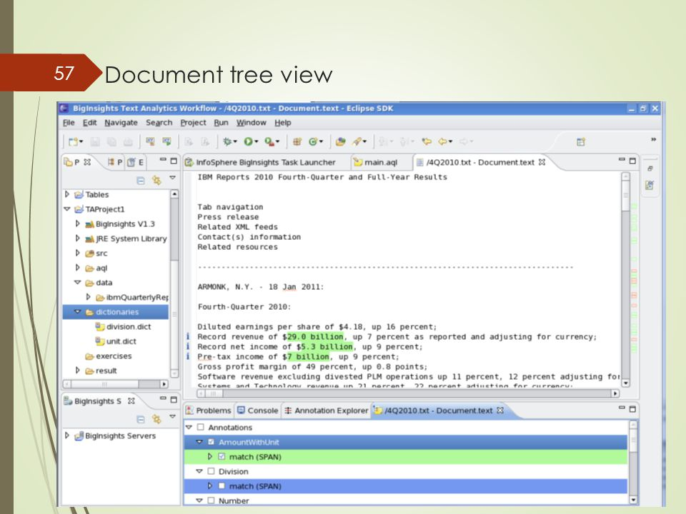 Document tree view 57