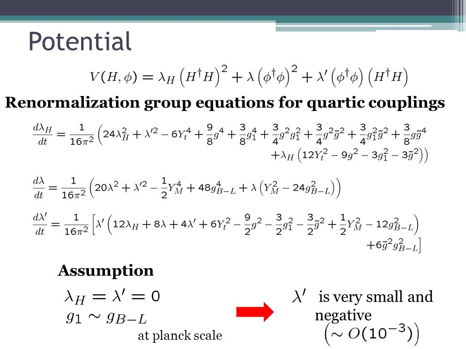 Potential at planck scale Assumption Renormalization group equations for quartic couplings is very small and negative