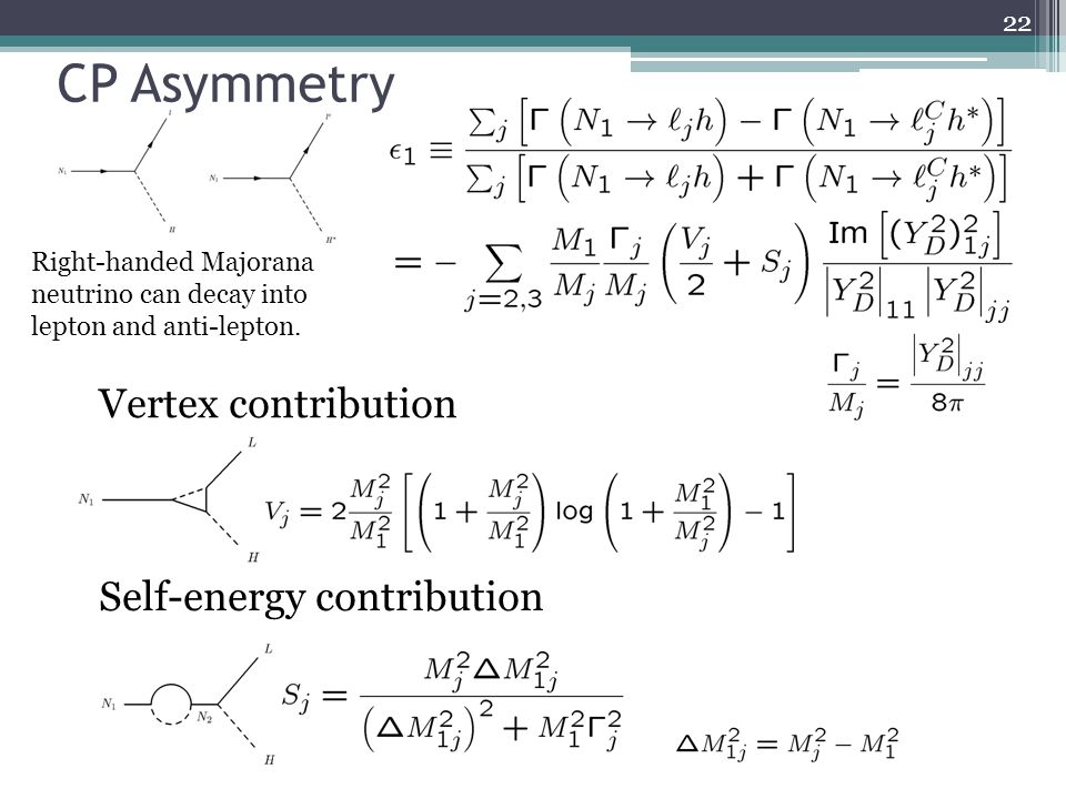 CP Asymmetry Vertex contribution Self-energy contribution Right-handed Majorana neutrino can decay into lepton and anti-lepton. 22