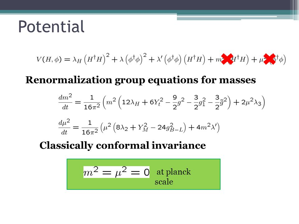 Potential at planck scale Renormalization group equations for masses Classically conformal invariance