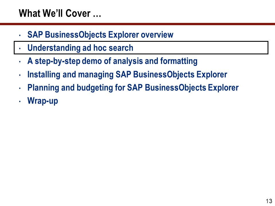 13 What We'll Cover … SAP BusinessObjects Explorer overview Understanding ad hoc search A step-by-step demo of analysis and formatting Installing and managing SAP BusinessObjects Explorer Planning and budgeting for SAP BusinessObjects Explorer Wrap-up